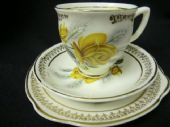 Retro tea trio -yellow rose